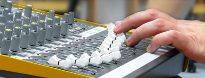 Audio console 6. Audio console in my home studio Stock Photography