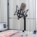 Audio consoleand and microphone Royalty Free Stock Photo