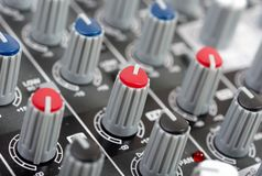 Audio control console Royalty Free Stock Image