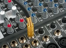 Audio control console stock images