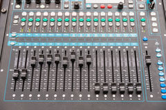 Audio control console Royalty Free Stock Photo