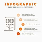 Audio, control, mix, mixer, studio Infographics Template for Website and Presentation. Line Gray icon with Orange infographic. Style vector illustration. Vector vector illustration