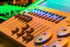 Audio Control. In nightclub in beautiful light effects royalty free stock images