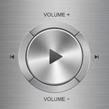 Audio control panel with buttons around main play button Stock Photos