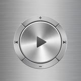 Audio control panel with buttons around main play button. Audio and volume control panel with silver metal texture buttons situated around main play button on Stock Photography