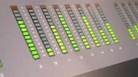 Audio control panel with green led line in radio broadcasting studio, Stock Photos