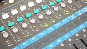 Audio control panel, modern sound mixing desk in recording studio Royalty Free Stock Photography