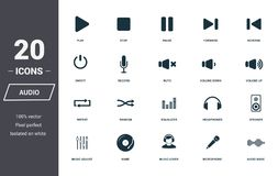 Audio controls icons set. Premium quality symbol collection. Audio controls icon set simple elements. Ready to use in web design, royalty free illustration