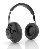 Audio cuffie nere 3D. Icona. su bianco Immagini Stock Libere da Diritti