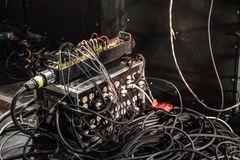 Audio dźwigarka i druty łączyliśmy audio melanżer i elektryczna prymka Obrazy Royalty Free