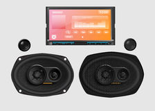 Audio de voiture avec des haut-parleurs Illustration Stock