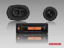 Audio de voiture avec des haut-parleurs Illustration Libre de Droits