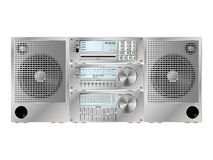 Audio deck. CD/DVD, Radio tuner, amplifier and speakers, stereo audio deck with some copy-space on displays for custom text Royalty Free Stock Image