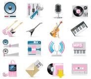 Audio di vettore ed insieme dell'icona di musica Fotografia Stock