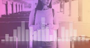 Audio-Digital-Entzerrer-Musik stimmt Schallwelle-Grafik-Konzept ab Stockfotografie
