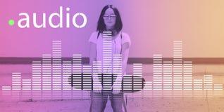 Audio-Digital-Entzerrer-Musik stimmt Schallwelle-Grafik-Konzept ab stockbild