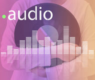 Audio Digital Equalizer Music Tunes Sound Wave Graphic Concept. Asian Teenager Holding Audio Digital Equalizer Music Tunes Sound Wave Graphic Royalty Free Stock Photos