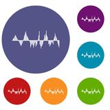 Audio digital equalizer technology icons set. In flat circle reb, blue and green color for web Stock Illustration