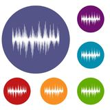 Audio digital equalizer technology icons set. In flat circle reb, blue and green color for web Royalty Free Illustration