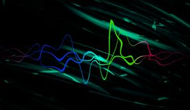 Audio digitale equalisertechnologie, impulsmusical Abstracte kleurrijke correcte golven voor partij, DJ, bar, clubs stock foto's