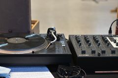 Audio DJ sound equipment, Vinyl record close up stock images