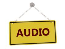 Audio sign. Audio door sign with chain isolated on white background ,3d rendered stock illustration