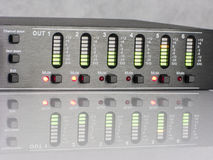 Audio DSP output led indicating signal level. Audio DSP front panel turned on with 3 output channels muted. With natural reflection. Led indicating signal level royalty free stock photo