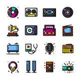 Audio e video illustrazione di vettore delle icone illustrazione di stock