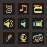 Audio e video serie dell'icona Fotografia Stock