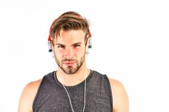 Audio education. Listen music for motivation and inspiration. Audio quality. Audio track. Man handsome unshaven hipster. Listening audio file using headphones royalty free stock photo