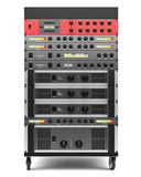 Audio effects processors in a rack isolated on white Stock Photography