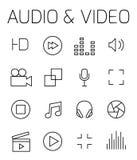 Audio en video verwante vectorpictogramreeks stock illustratie