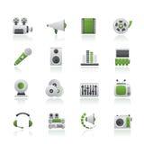 Audio en videopictogrammen Stock Afbeeldingen