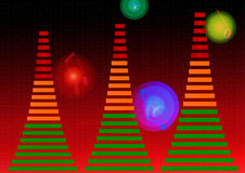 Audio equalizer. Digital audio equalizer with red background royalty free illustration