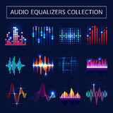 Audio Equalizer Neon Set Royalty Free Stock Photography