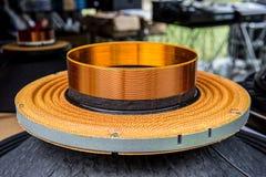 Audio Equipment, Circle, Listening, Speaker, Sound Wave. Speaker part on music object Stock Photo