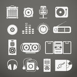 Audio equipment icons. Collection on grey Royalty Free Stock Photo