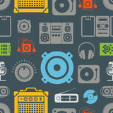 Audio equipment icons. Color seamless pattern Royalty Free Stock Photography