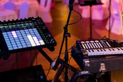 Audio equipment, musical equipment, synthesizer stock photography