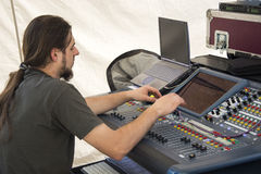 Audio equipment operator Stock Image