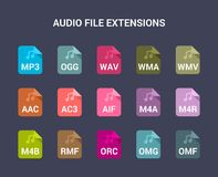 Audio file extensions. Flat colored vector icons stock illustration
