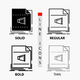 Audio, file, format, music, sound Icon in Thin, Regular, Bold Line and Glyph Style. Vector illustration. Vector EPS10 Abstract Template background royalty free illustration