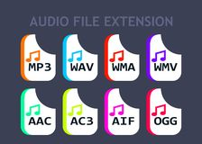 Audio file formats. Music file type icons Stock Photos
