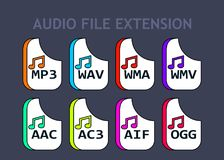 Audio file formats. Music file type icons Stock Photography