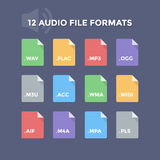 Audio File Formats. Music file type icons Royalty Free Stock Photography