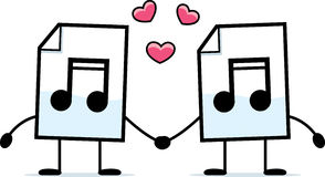 Audio File Love. A cartoon illustration of an audio file holding hands Stock Photography