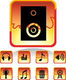 Audio Fire Button. Set of 9 web buttons - fire style Royalty Free Stock Photography