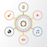 Audio Flat Icons Set. Collection Of Dj, Button, Sonata And Other Elements. Also Includes Symbols Such As Vinyl, Audio Royalty Free Stock Image