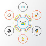 Audio Flat Icons Set. Collection Of Dj, Pianoforte, Rhythm And Other Elements. Also Includes Symbols Such As Listen Royalty Free Stock Image