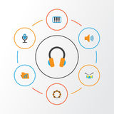 Audio Flat Icons Set. Collection Of Pianoforte, Karaoke, Band Elements. Also Includes Symbols Such As Rhythm, Drum. Audio Flat Icons Set. Collection Of Stock Photos